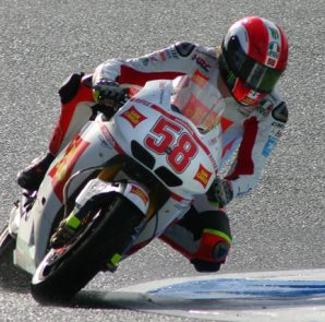 Marco Simoncelli topped the times in the second practice German Grand Prix.
